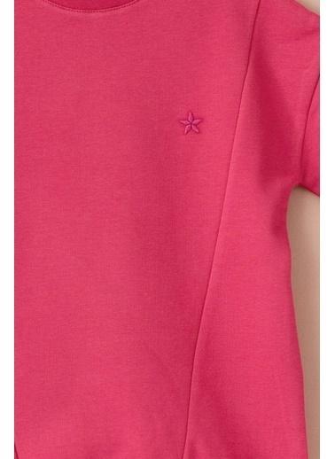 Cigit Yıldız Nakışlı Parçalı Sweatshirt Pembe